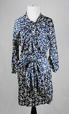 Isabel Marant Blue and Cream Belted Long Sleeve Dress Size 0
