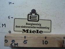 STICKER,DECAL MIELE E ENERGIEZUINIG DOOR ELECTRONISCHE VOCHTMETING WASMACHINE A