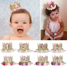 Baby Girl 1st Birthday Party Hat Flower Princess Crown Decor Hair Accessories