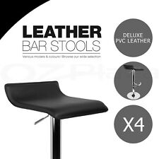 4x Bar Stool SENA Kitchen Swivel Barstool Leather Dining Chairs Gas Lift Black
