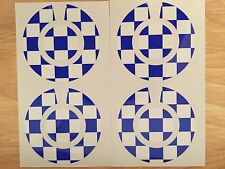 A Set Of Four Chequed Stickers In Blue and White