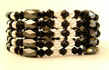 MAGNETIC NECKLACE or BRACELET. CAN BE WORN BOTH WAYS! BLACK CRYSTALS/ FAUX PEARL