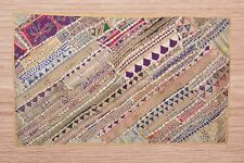Ethnic Vintage Embroidered Tapestry Handmade Room Decor Mirror Work Wall Hanging