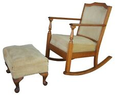 Antique Oak Rocking Chair & Ottoman Victorian Arts & Crafts Corduroy Rocker