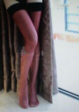 1Pr Semi Opaque Sheer Super Shiny Nylons Stockings Sz 12Xlx38 Red/Black