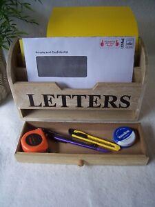 Gisela Graham Rustic Wooden Letter Rack Holder Natural Wood With Drawer