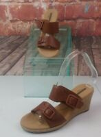 Clarks Collection Brown Leather Espadrille Wedge Sandals Size 6.5