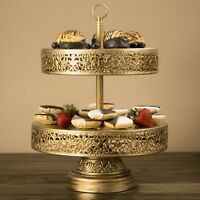 2-Tier Cupcake Stand Metal Cake Dessert Wedding Event Party Display Tower Plate