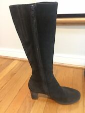 LA CANADIENNE 8 Brown Suede Leather Tall Knee High Zipper Boots Lined Waterproof