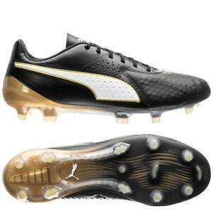 Puma One 1 Lth Classic FG Puma Black White Gold Football Boots