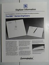 1982 Summagraphics Advertising Folder Early CAD Digitizers 4 pgs B&W NICE!