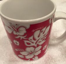 Floral Red Hawaiin Mug Made For ABC Stores Designed In Hawaii Made In China