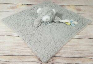"Blankets & Beyond Plush Gray Shaggy Teddy Bear Lovey Security Blanket 16"" x 18"""