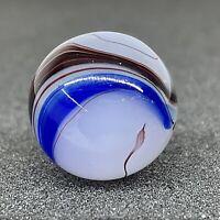 """Vintage Akro Agate Mint .63"""" Blue Oxblood Moss Swirl Marble"""