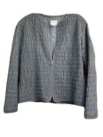ARMANI COLLEZIONI Gray Virgin Wool Lined Jacket Blazer Sz 14•Made In Italy Rare