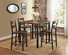 Rustic Dining Table Set Counter Height High Top Chair Kitchen Nook 5 Piece Pub