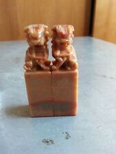 China Lions Carved  shoushan stone seal pair