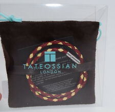 Tateossian Leather Double-Wrap Bracelet Silver Clasp Red & Cream  NIB