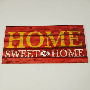 """Kansas City Chiefs Home Sweet Home Small Wood Sign 5"""" x 10"""" Wall Décor Gift"""