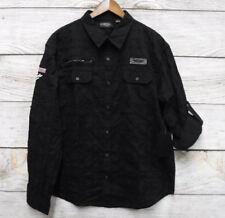 Steve's Jeans Mens Size 3X Black Plaid Weave Patchwork Button Down Shirt New