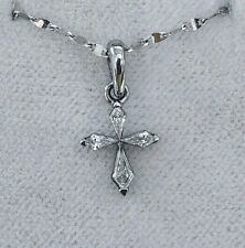 Diamond Cross Pendant 100% Natural White Gold 18K 0.25 Carat Kite Cut SI