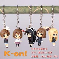 5pcs K-on! PVC figure Keychain Key Ring Pendant Anime gift toy