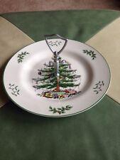"Spode Christmas Tree 10.5"" Tidbit Relish Tray Plate W Handle England S3324 Best"