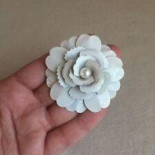 LARGE Vintage 60s WHITE Enamel CAMELLIA Flower LAYERED Petal BROOCH Pearl CENTRE