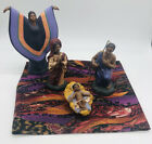 vintage African American Nativity Set 5 pc Hand Painted Ceramic