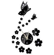 Cristallo DIY 3D Orologio da parete Specchi a farfalla Decorazione moderna S7V3