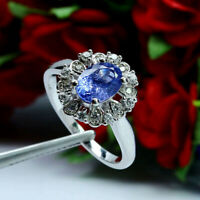 NATURAL 6 X 8 mm. OVAL BLUE TANZANITE & WHITE CZ RING 925 STERLING SILVER SZ 8