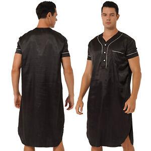 Men Satin Nightwear NightShirt Short Sleeve V-Neck Lounge Pullover Sleepwear L