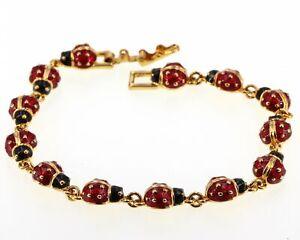 "Joan Rivers Goldtone with Red & Black Enamel 7-1/2"" Lucky Ladybug Line Bracelet"
