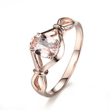 Oval 7x5mm Morganite Solid 10K Rose Gold Ladys Solitaire Ring Gemstone Jewelry