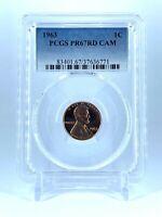 CAMEO 1963 PR67RD CAM  LINCOLN PENNY PCGS GRADED PROOF RARE COIN PR 67 RED CAMEO