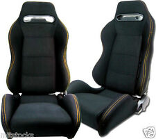 2 BLACK CLOTH YELLOW STITCH RACING SEATS RECLINABLE + SLIDERS VOLKSWAGEN NEW **