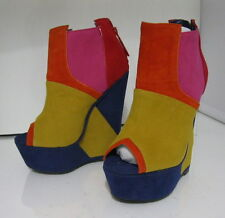 "Yellow Multi 6"" High Wedge Heel 2"" Platform Open Toe Sexy Ankle Boot Size 6.5"