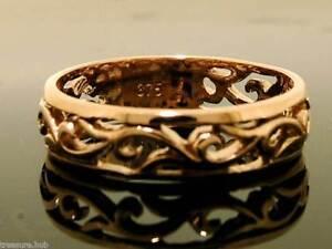 R062- Genuine 9K Rose / Pink Gold Scroll Wedding Band Friendship Ring in yr size