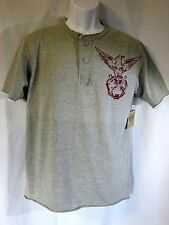 ROUTE 66 Henley Gray w/ Eagle - Size M - Cut-Off Look on Collar Sleeve & Hem NEW