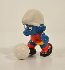 "1979 Smurf Soccer Ball Sport Player 2"" Schleich PVC Vintage Action Figure Smurfs"