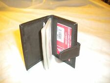 NEW GENUINE LEATHER CREDIT CARD HOLDER WITH MANY CLEAR PLASTIC BLACK COLOR SNAP
