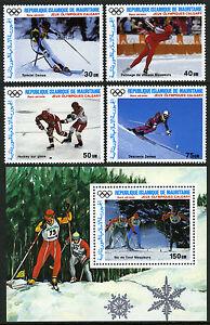 Mauritanie C257-C260,C261 S/S,MNH Olympiques,Calgary.slalom,Hockey,Ski,1987