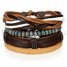 4pcs Pack Wood Beaded Leather Charm Bracelet for Men Women Braided Wrist Cuff