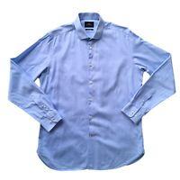 MOSS London Men's Blue Pinstripe Extra Slim Fit Long Sleeve Shirt Size 43 / 16.5