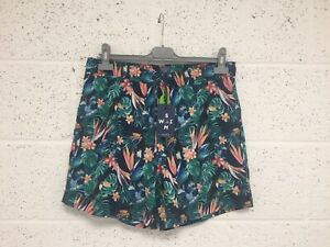 Fat Face Daymer Toucan Swim Shorts - Floral Jungle Blue Green - BNWT - Size M