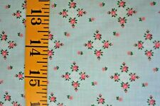 TINY FLORAL PRINT ON GREEN  100% COTTON FABRIC  BY THE 1/2 YARD