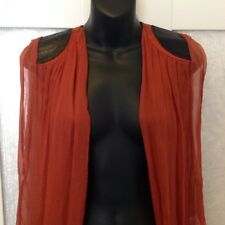 USCARI Gilet Vest Silk Leather 6 8 10 12 Free Size As New Worn Once RP $320