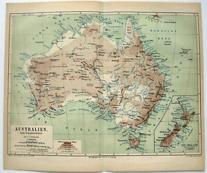 Australia & New Zealand - Original 1874 Hydro-Orographic Map by Meyers.