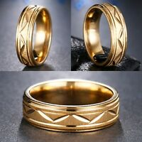 6mm Stainless Steel Gold Mens Womens Wedding Band - New Comfort Fit Unisex Ring