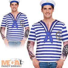 Marine Sailor Mens Fancy Dress Top Navy Seaman Shirt Adults Costume Accessory